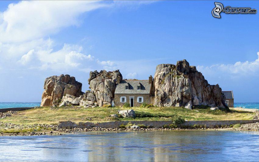 casa, rocce, piccola isola, mare