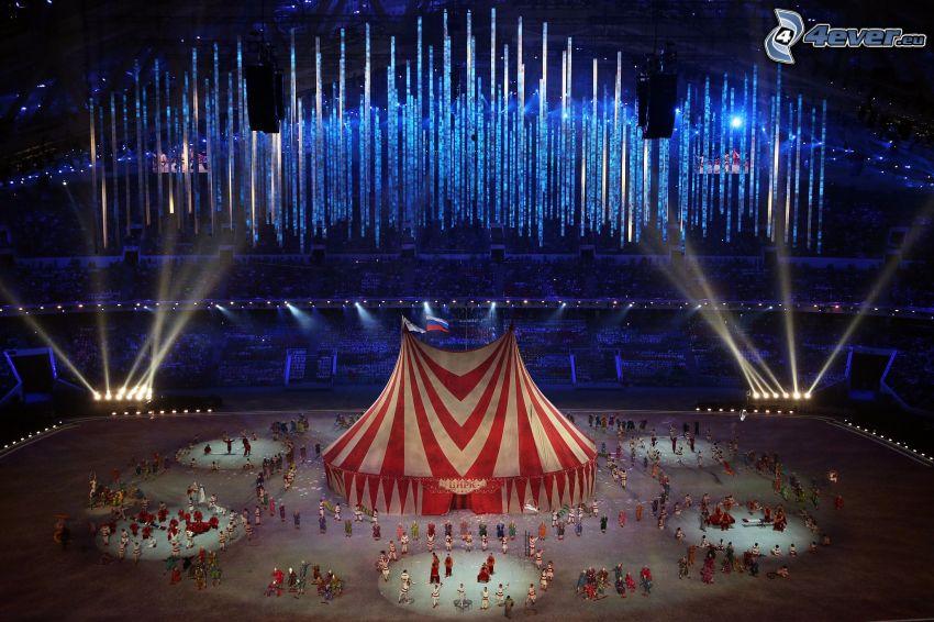 circo, gente, luci