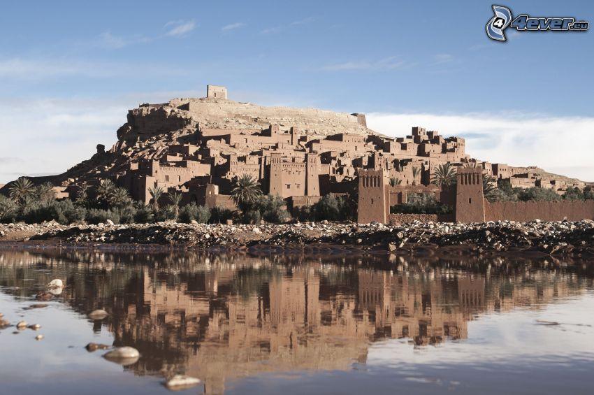 Ait Benhaddou, il fiume, riflessione