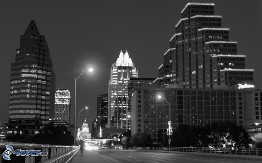Austin, Texas, città notturno