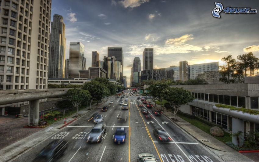 autostrada, Los Angeles, grattacieli, HDR