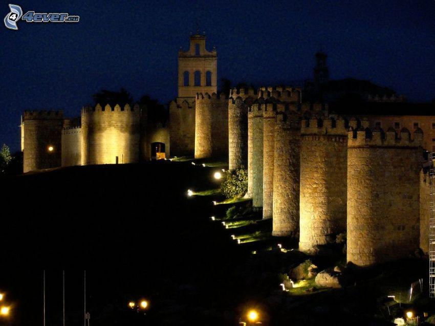 Ávila, Spagna, notte, mura