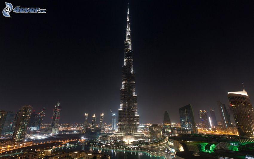 Burj Khalifa, Dubai, città notturno