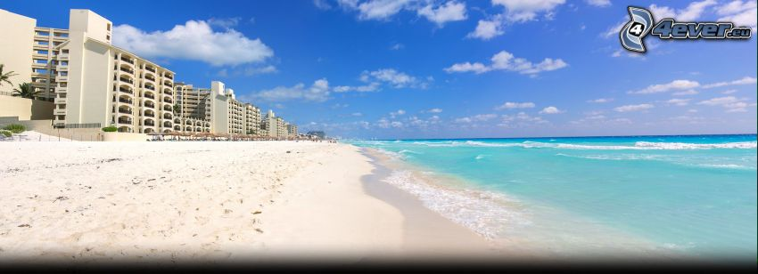 Cancún, cittá, spiaggia sabbiosa, alto mare