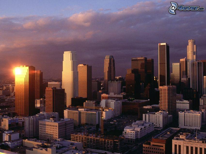 centro di Los Angeles, tramonto, California, USA