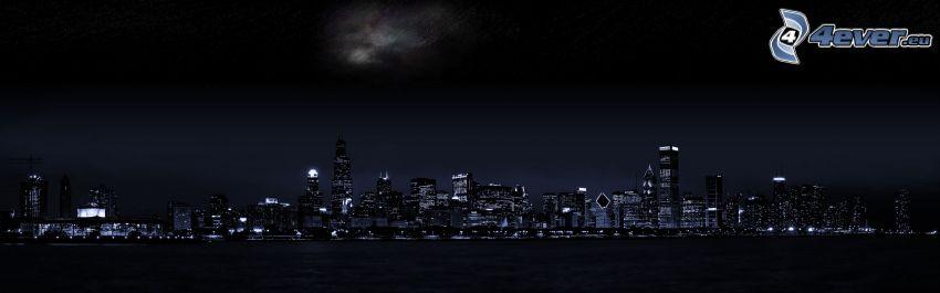 Chicago, città notturno, panorama