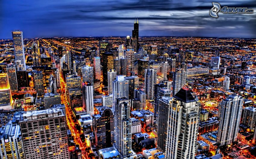 Chicago, grattacieli, città notturno, HDR