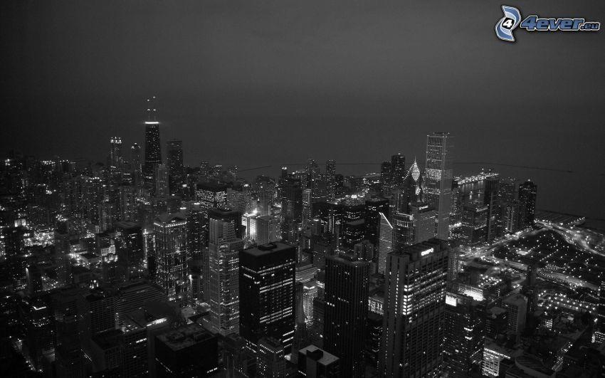 Chicago, grattacieli, città notturno