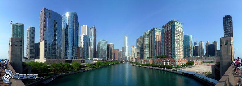 Chicago, grattacieli, panorama, canale d'acqua