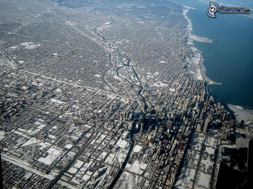Chicago, vista aerea, Lago Michigan
