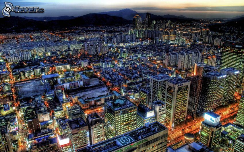 città, città notturno