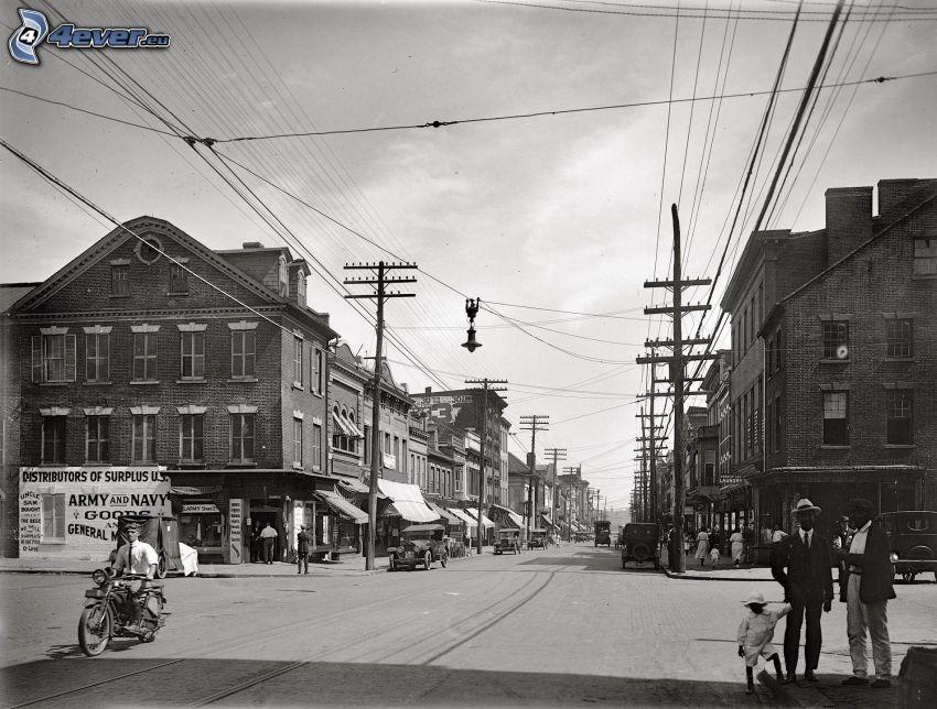 città, elettrodotto, foto in bianco e nero, vecchia foto