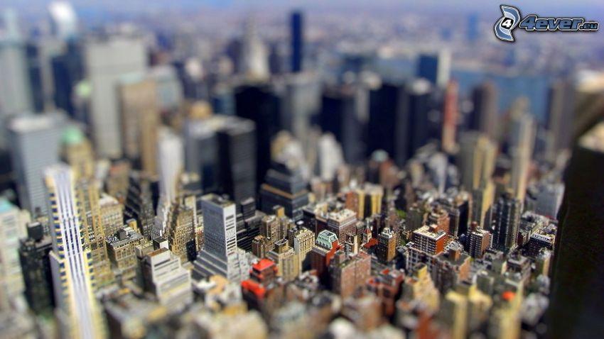 città, grattacieli, diorama