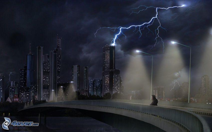città notturno, fulmini, ponte
