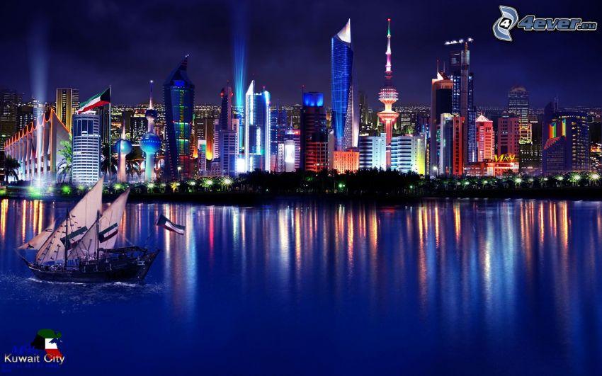 città notturno, illuminazione colorata, mare, barca a vela