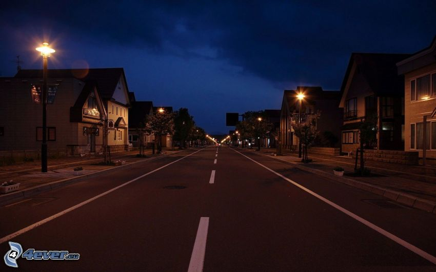 città notturno, strada, case