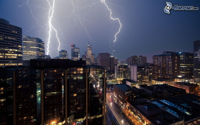 città notturno, tempesta, fulmini, grattacieli