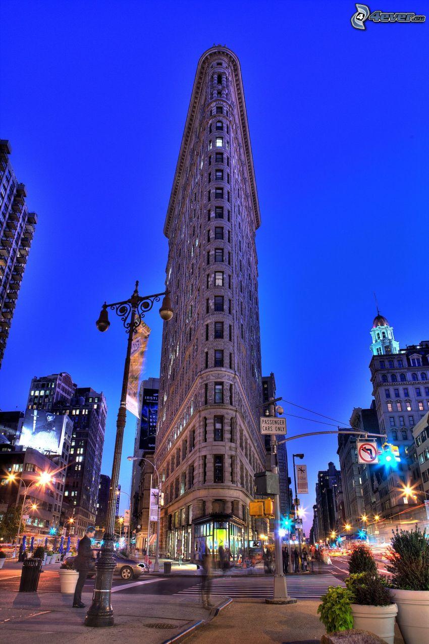 Flatiron, Manhattan, strade, città di sera