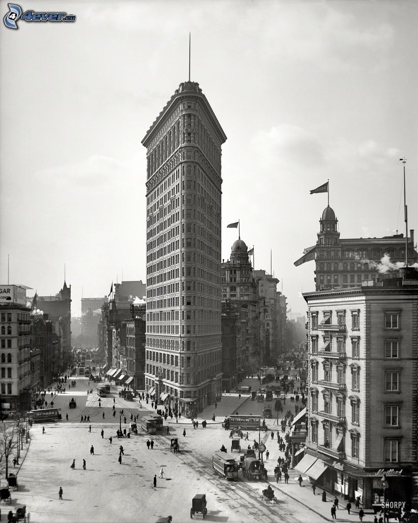 Flatiron, Manhattan, strade, foto in bianco e nero