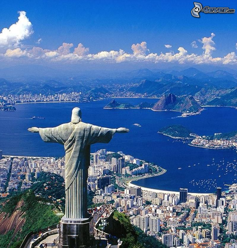 Gesù a Rio de Janeiro, Rio De Janeiro, Brasile, statua, vista della città, mare