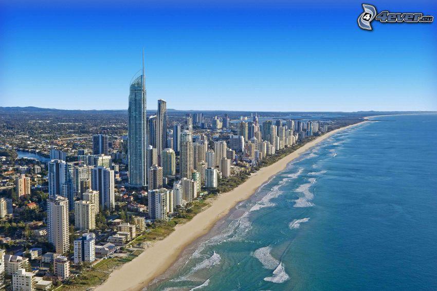Gold Coast, grattacieli, spiaggia sabbiosa, mare