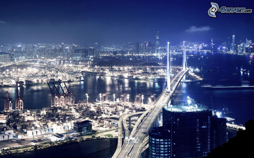 Hong Kong, città notturno, ponte dell'autostrada