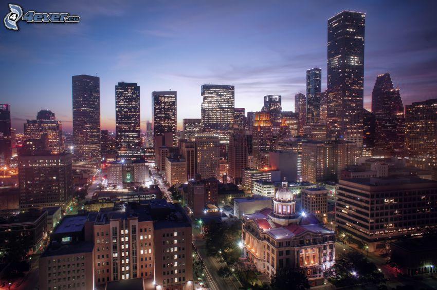 Houston, città notturno, grattacieli