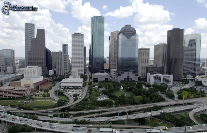 Houston, grattacieli, autostrada