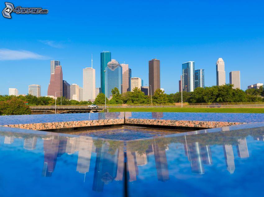 Houston, grattacieli, parco, fontana