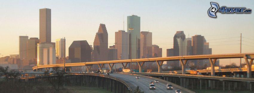 Houston, grattacieli, ponte