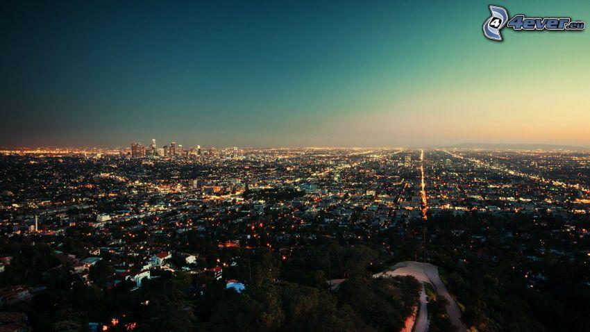 Los Angeles, città notturno, vista della città