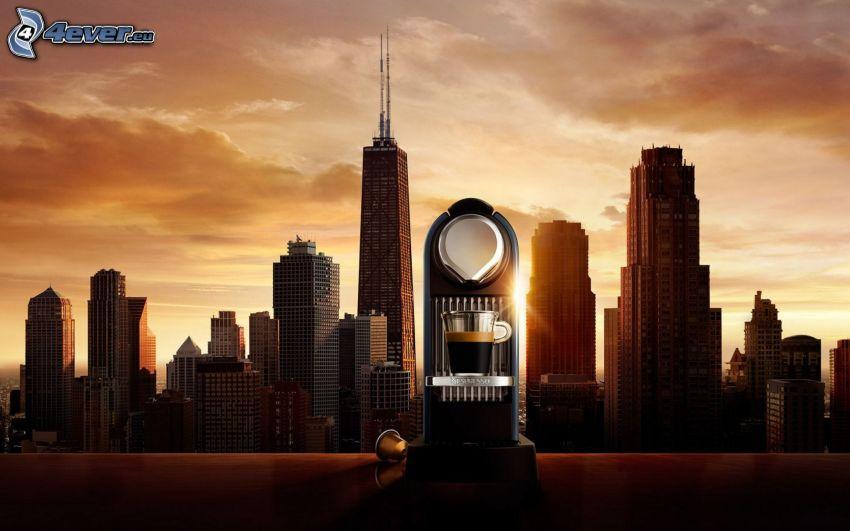 macchina da caffè, Chicago, USA, grattacieli, sera