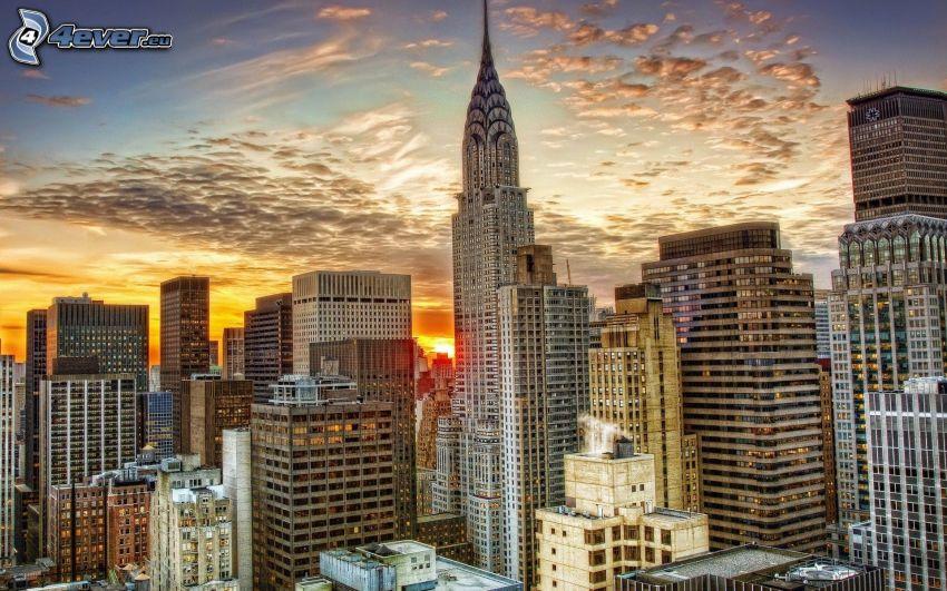 Manhattan, grattacieli, Chrysler Building, HDR, tramonto in città