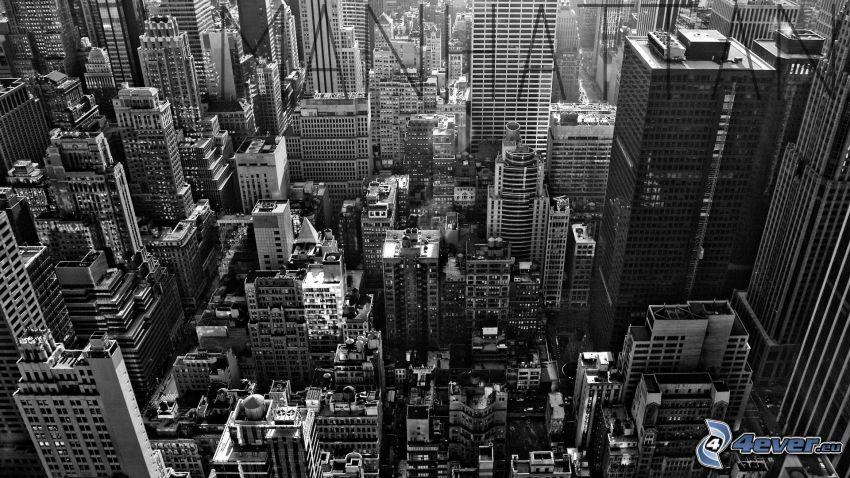 Manhattan, grattacieli, New York, bianco e nero
