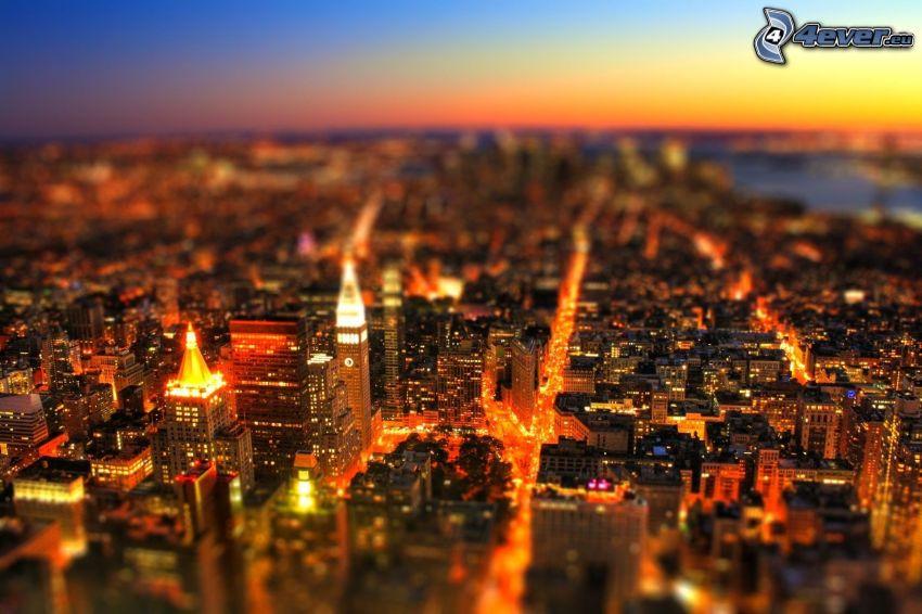 Manhattan, New York, città di sera, diorama, HDR