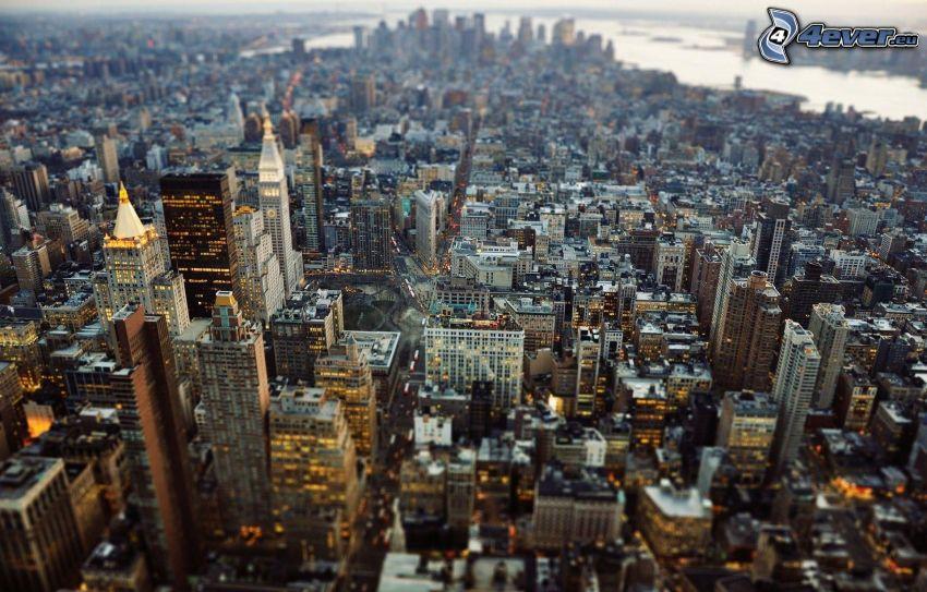 Manhattan, vista della città, città di sera