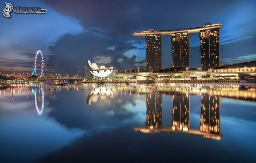 Marina Bay Sands, Singapore, edifici, sera, acqua, riflessione, carosello