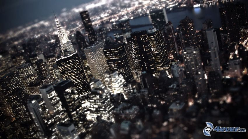 New York, grattacieli, città notturno, Chrysler Building