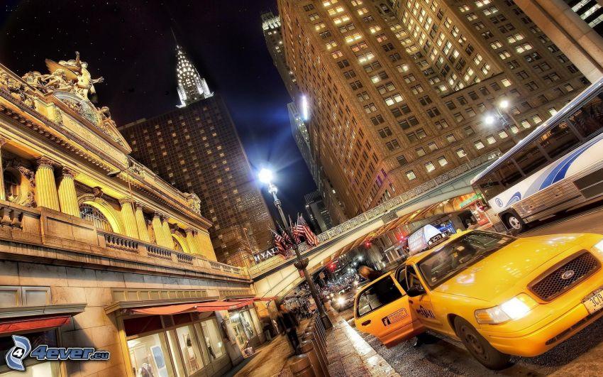 New York, grattacieli, città notturno