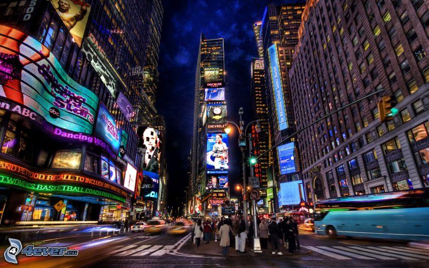 New York, Times Square, città notturno