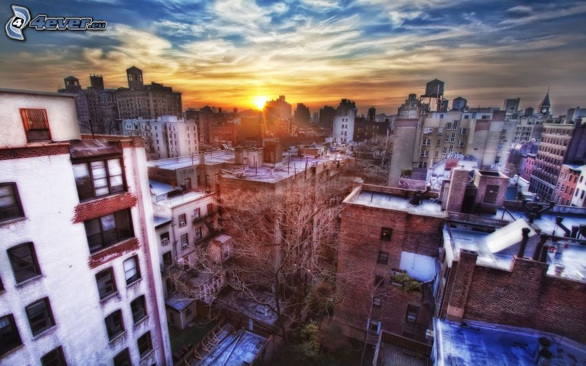 New York, tramonto in città, HDR