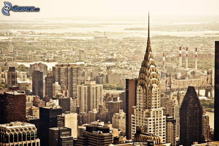 New York, vista della città, Chrysler Building, grattacieli, color seppia