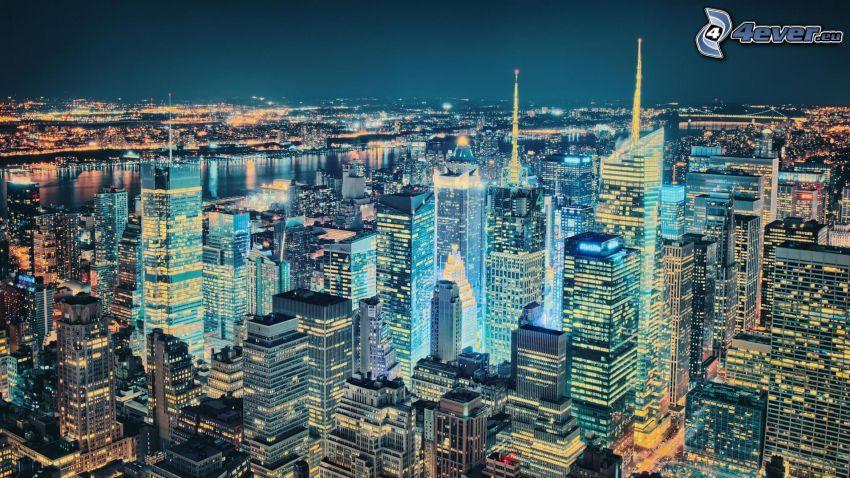 New York durante la notte, HDR
