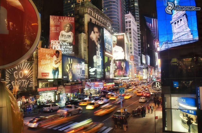 New York durante la notte, strada