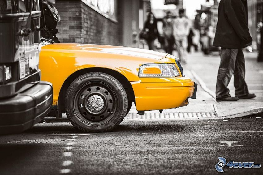NYC Taxi, macchina gialla, bianco e nero
