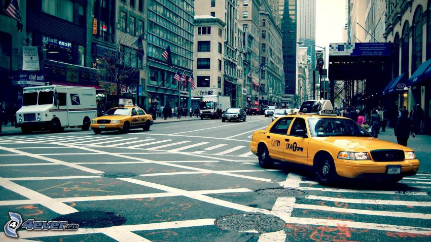 NYC Taxi, strade, New York