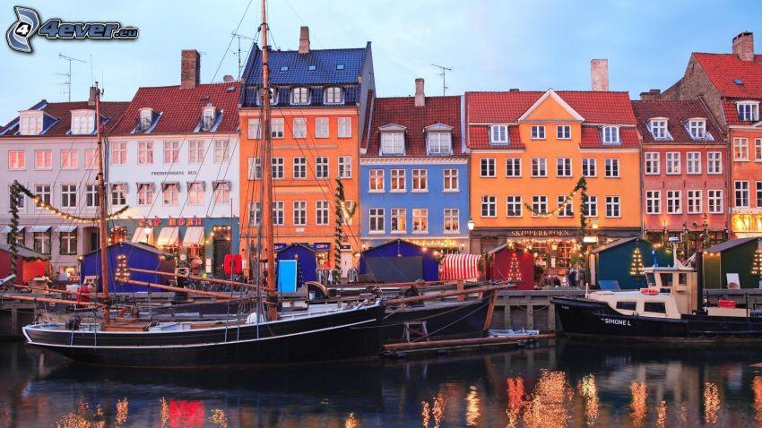 Nyhavn, Danimarca, porto, townhomes