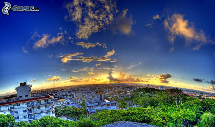 Okinawa, Terra, tramonto sopra una città, HDR