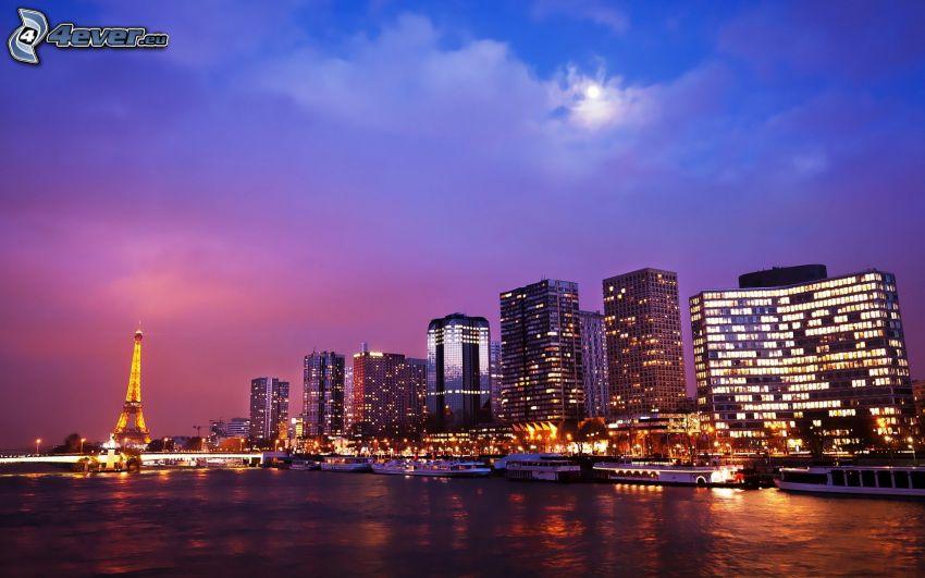 Parigi, città notturno, Torre Eiffel di notte