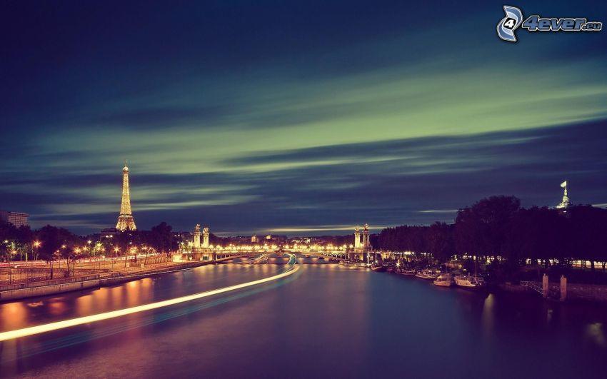 Parigi, Torre Eiffel, città notturno, Senna